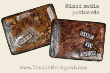 Mixed-media postcard tutorial video with Ursula Markgraf