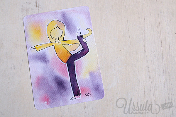 YOGA-LOVE postcards - dancer/ Tänzer, mixed media art by Ursula Markgraf