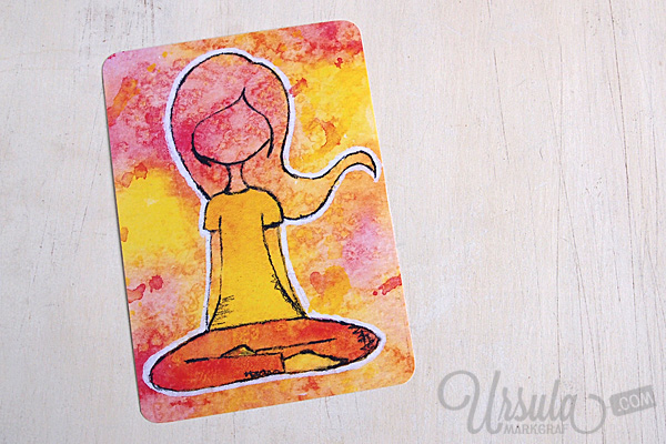 YOGA-LOVE postcard - easy seat/ Schneidersitz, mixed media art by Ursula Markgraf
