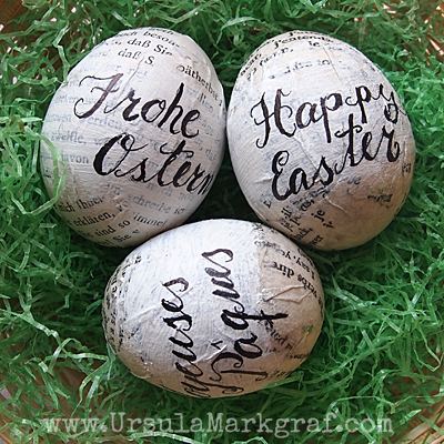 Faux calligraphy on decoupaged eggs