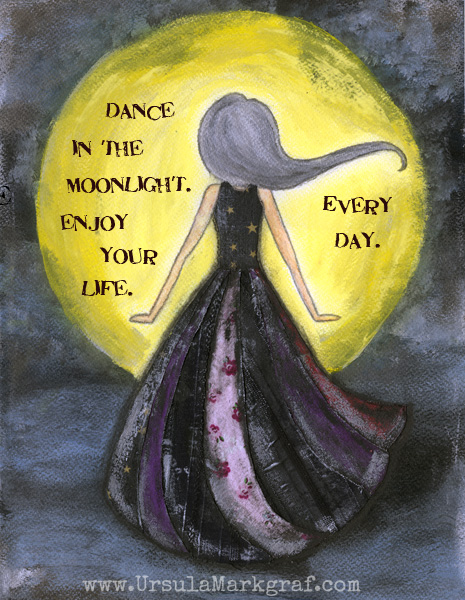 Dance in the moonlight - mixed media art by Ursula Markgraf