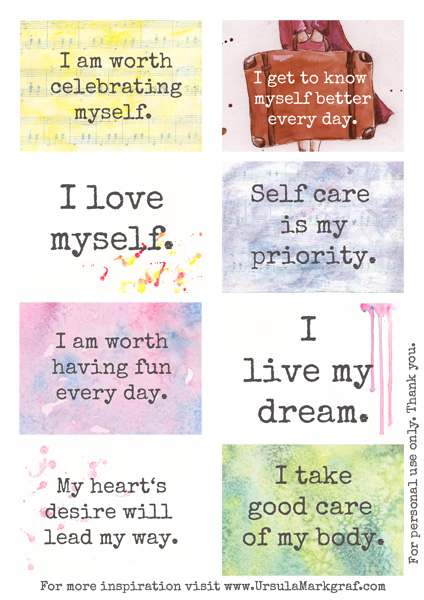 photo relating to Affirmation Cards Printable titled Absolutely free confirmation playing cards for by yourself toward down load Ursula Markgraf